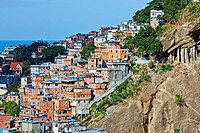 Favela and city,in Rio de Janeiro,Copacabana,Brazil