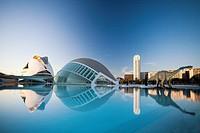 Spain-Valencia Comunity-Valencia City-The City of Arts and Science built by Calatrava-The Hemisferic and Palace of Arts Bldg