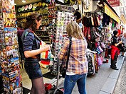 Paris, France, Tourists Shopping in Tourist Shops in Montmartre District