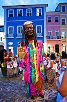 Street carnival, dance group, Pelourinho,Salvador ,Bahia,Brazil