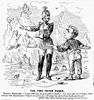 ALASKA PURCHASE CARTOON.An American cartoon of 1867 deriding Secretary of State William H. Seward for having made a bad bargain over the Alaska purcha...