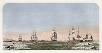 Whaling ships at sea. Historical artwork of ships hunting right whales in the Bering Straits.