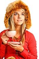 Blonde drinks hot tea