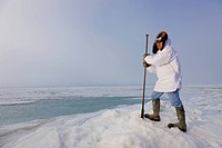 Male Inupiaq Eskimo hunter wearing his Eskimo parka Atigi and carrying a walking stick while looking out over the Chukchi Sea, Barrow, Arctic Alaska, ...