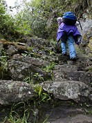Woman, hiking, on, the, Inca, trail, region, of, Machu, Picchu, province, Urubamba, Peru,