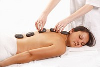 Woman, at, hot, stone, massage, hot, stones, basalt, la, stone, therapy, LaStone, therapy,