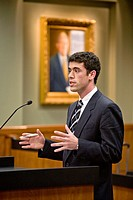 A student at the law school of the University of California at Irvine addresses a panel of judges at the moot court -- a prestigious extracurricular a...