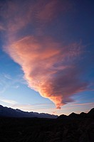 Sierra Wave - Lenticular cloud at sunset over Sierra Nevada mountains, Alabama hills, California, USA