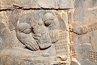 Bas relief of a hunting lion at Persepolis, Iran