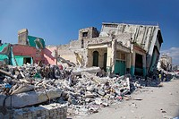 collapsed buildings along a downtown street after an earthquake, port_au_prince, haiti