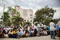 mass at the catholic cathedral of the lady of our assumption continues after the haitian earthquake, port_au_prince, haiti