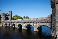 bridge over lough corrib by ashford castle, cong, county mayo, ireland