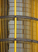 Yellow blinds on the exterior of a skyscraper