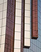 Decorative glass pillars on a skyscraper