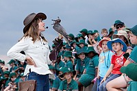 Shannon Hoffman in front of a school class during her flight display show, showing a Lanner Falcon  The shows are aimed at educating children and adul...