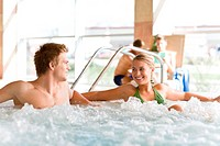 Swimming pool _ couple relax in hot tub