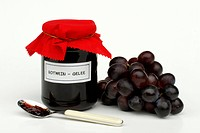 Red, wine, jelly, in, glass, and, grapes, spoon,