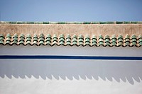Abstract view of the roof and the side of a building in the Moroccan city of Marrakech