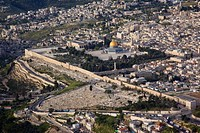 Aerial photograph of the temple mount and the Dome of the Rock in the old city of Jerusalem