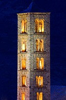 Bell tower of the Romanesque church of Sant Climent lit -Taüll - Vall de Boi - Pyrenees - Lleida Province - Catalonia - Cataluña - Spain