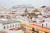 Photograph of the uniqoe colorful roofs of the Spanish city of Cadiz