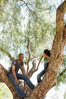 Father and daughter 13-15 climbing tree (thumbnail)