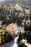 Aerial view of the Church of Visitation and the Russian Orthodox Church in Ein Karem, Jerusalem