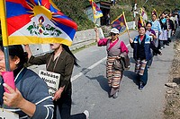 women's demonstration, for the freedom of Tibetan women,Jogibara Rd, Dharamsala, Himachal Pradesh state, India, Asia