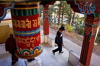 prayer wheel in Lhagyal Ri,near Tsuglagkhang complex,McLeod Ganj, Dharamsala, Himachal Pradesh state, India, Asia