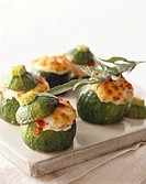 Courgettes with soft cheese stuffing