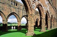 Sweetheart Abbey south of Dumfries in the Dumfries and Galloway region of SW Scotland  A Cistercian monastery founded in 1275