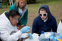 Livonia, Michigan - Tenth grade students from Churchill High School, a public school, study the water quality of a tributary of the Rouge River  They ...