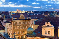 Overview on the city roof in Old Town area  In background Prague Castle Prague  Czech Republic