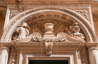 Detail from the doorway of the Banca Guiratale, Mdina, Malta