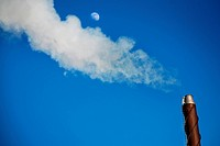 pollution smoke over chimney with moon