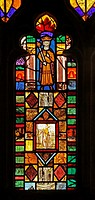 A medieval stained glass window depicting King Ceolwyn, St Cuthbert's Church, Edenhall near Penrith, Cumbria  The glass in the east window contains a ...