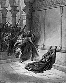Gustave Doré, The Death of Athaliah, Black and White Engraving