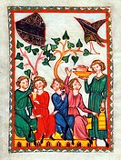 Illumination from the 14th Century Codex Manesse, Steinmar the Minstrel of the 13th century