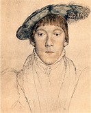 Sketch by Hans Holbein the Younger, Portrait of Henry Howard, Earl of Surrey, Colour Illustration