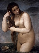TITIAN: VENUS, 1520.Titian: Venus Anadyomene. Oil on canvas, c1520.
