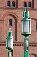 Art Deco lampposts outside St Georges Dock Ventilation Tower in Liverpool, England