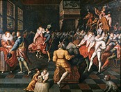 WEDDING RECEPTION, 1581.A wedding reception at the French court for the sister-in-law of Henry III, Marguerite of Lorraine.