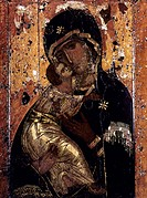 THE VIRGIN OF VLADIMIR.Russian icon painted at Constantinople, c1131.