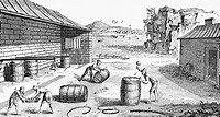 CURING FISH, 18th CENTURY.The packing of salt-cured fish in barrels. Copper engraving, French, 18th century.