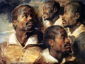 RUBENS: NEGRO, 1620.Studies of a Negro by Peter Paul Rubens. Oil on wood, c1620.