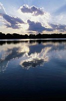 Reflections of clouds on a lake, Kansas, USA