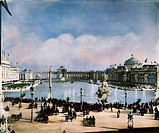 COLUMBIAN EXPOSITION, 1893.The 'White City' of the World's Columbian Exposition at Chicago, 1893. Oil over a photograph by Frances Benjamin Johnston.