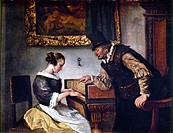 STEEN: HARPSICHORD LESSON.Oil on canvas, by Jan Steen.