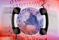 Two telephone receivers on a globe with binary code superimposed