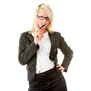 Blond businesswoman with pen